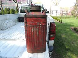 Vintage Ellisco Embossed 10 Gallon Gallions Red Oil Gas Can Container Height 26