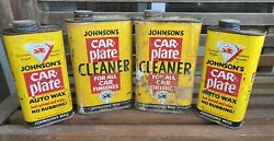 Lot Of 4 Johnson's Car Wax Cans - Vintage Automotive Advertising - Oil Grease