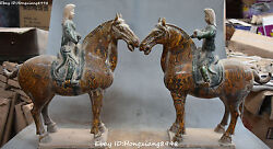China Ancient Wucai Porcelain Belle Beauty Girl Horse Horses Animal Statue Pair