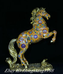 20.8 Old China Copper Cloisonne Enamel Dynasty Tang War Horse Success Statue