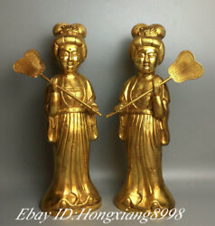 12.9 Old Chinese Tang Dynasty Bronze 24k Gold Hold Fan Maid Beauty Statue Pair