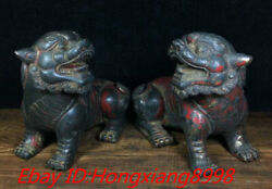 4and039and039 Old Chinese Bronze Fengshui Town House Foo Fu Dog Guardion Lion Statue Pair