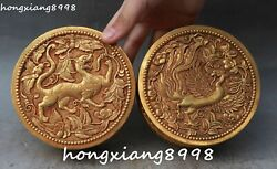 Old Chinese 100 Gold Gilt Dragon Loong Phoenix Jewelry Box Casket Boxes Pair