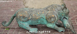 Collection Old China Bronze Ware Gold Dragon Phoenix Leopard Beast Animal Statue