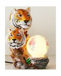 Aibote Tigers Head Statue With Peony Flower Painted Lamp Novelty Sculpture Fi...