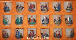 23 Chinese Colour Porcelain Arhat Rohan Lohan Cup Wineglass Statue Full Set