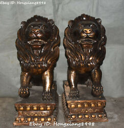 China Marked Pure Bronze King Of Forest Lion Panthera Leo Beast Statue Pair