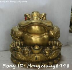 China Pure Bronze Fengshui Golden Toad Spittor Money Coin Yuanbao Statue