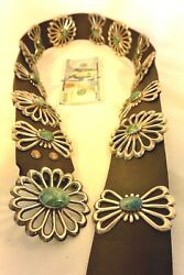 Xl 24+ozt Navajo Concho Belt 14 Tufa Sand Cast Sterling Silver Turquoise Buckle