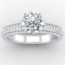 14k Solid White Gold Natural 0.76 Ct Round Cut Diamond Anniversary Ring Size 5 6