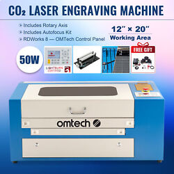 50w 20x12in Workbed Co2 Laser Engraver Cutter With Rotary Axis And Autofocus Kit