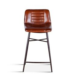 34 H Brown Red Leather Counter Chair Retro Pleated Low Back Goat Leather Metal