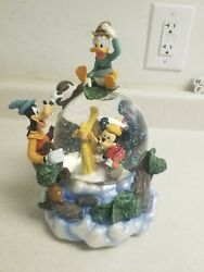 Mickey And The Beanstalk Mouse Goofy Donald Duck Snow Globe Music Box 1947