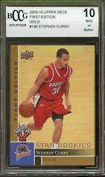 Steph Curry Gold First Edition Rookie Card 2009-2010 Upper Deck Bgs Bccg 10