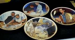 Lot Of 4 Deluxe Norman Rockwell's The Four Freedoms -plates With Gold Rim 1976