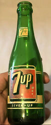 Vintage Rare Foreign 7 Up Cola Soda Empty Green Glass Advertising Bottle