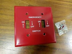 10 Pc Red Metal Emergency Furnace Switch Wall Plate Cover 2-gang Toggle Switch