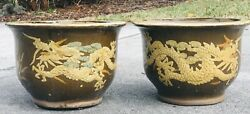 Lot Of 2 Chinese Earthenware Glazed Dragon Jardiniere Planters Pots