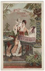 1885 Pocket Calendar Mrs Winslows Soothing Syrup Trade Card Morphine Sulphate