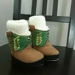 John Deere Sherpa Lined Crib Boots Booties Size 3-6 Mo Infant Baby Unisex