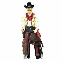 Western Cowboy With Saddle Life Size Statue