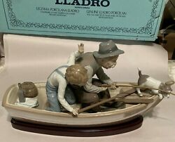 Retired Vintage Lladro Fishing With Gramps 5215 With Box Jose Puche Date 1984