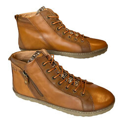 Pikolinos Womens Cognac Leather Lace Up Zipped High Top Sneakers Shoes Size 11