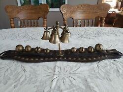 Antique Vintage Parade Or Sleigh Bells Horse Gear Leather W/ Studs Great Patina