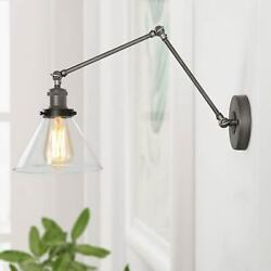 Farmhouse Swing Arms Wall Lighting Antique Silver Glass Shade Plug In And Hardware