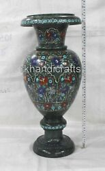21 Inches Marble Flower Vase With Semi Precious Stones Art Flower Pot For Garden