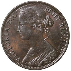 1861 Great Britain One Penny No Lcw No Signature Queen Victoria Penny Km794.2