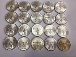 1980 Mexico Onza 1 Oz Of Pure 33.625 Grams Of .925 Silver Roll 20 Coins