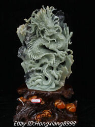21'' Unique Natural Green Jade Carved Fengshui Wealth Dragon Dragons Statue