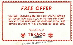Vintage Advertising Postcards Texaco Free Offer Given Picture Of Lover's Leap
