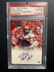 2001 Topps Debut Drew Brees Certified Auto Psa 10 101 Rookie Rc On Card /499