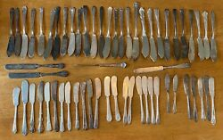 Mixed Lot 60 Pc Antique Butter Knives And Spreaders Silverplate Use/art/craft