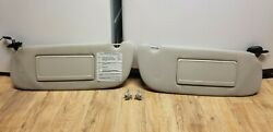 1994-01 Dodge Ram Tan Beige Lighted Sun Visor Set Left Right W/ Mirrors And Clips