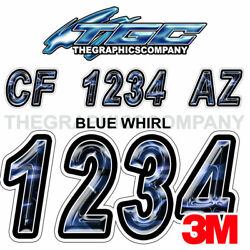 Blue Whirl Custom Boat Registration Numbers Decals Vinyl Lettering Stickers Uscg