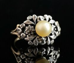 Antique Georgian Diamond And Pearl Ring 18ct Gold