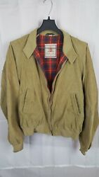 Four Climes Men's Jacket Fits M-l Made In England Tan Corduroy Harrington Bomber