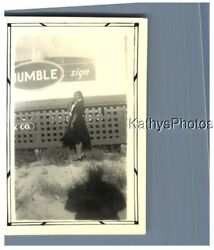 Found Bandw Photo H_7436 Black Woman Standing At Humble Oil Sign