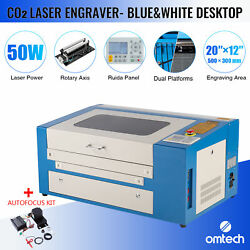 Omtech 50w 20x12 Inch Co2 Laser Engraver Cutter With Autofocus Kit And Rotary Axis