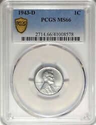 1943-d 1c Pcgs Ms 66 Gem Uncirculated Unc Lincoln Steel Cent Type Coin 1