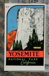 Original Vintage Travel Decal Yosemite National Park California Old Luggage Ca