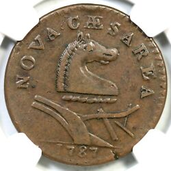 1787 48-g R-3 Ngc Xf 45 No Plow Sprig New Jersey Colonial Copper Coin