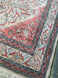 New Handmade In India Tribal And Floral Oriental Rugantique-look Pink And Blue8x10