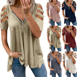 Womens Cold Shoulder Zipper V Neck T Shirt Ladies Short Sleeve Solid Top Blouse $14.99