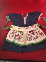 Lot Of 2 Antique Vintage Doll Baby Clothes Blue Dress And Floral Apron