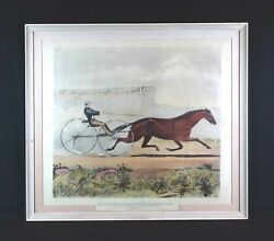 Antique Currier And Ives 19th Century Lithograph Trotting Mare Lucy Horse Racing