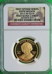 2013 W Edith Wilson First Spouse 1/2 Ounce 99.9 Pure Gold Ngc Pf 69 Ucam Rare